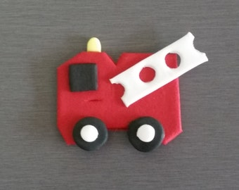 6 x Fire Engine Cupcake toppers,  Fire Truck cupcake decorations,  Fire Trucks