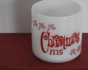 Christmas 1975- Novely Milk Glass Mug- Federal Glass