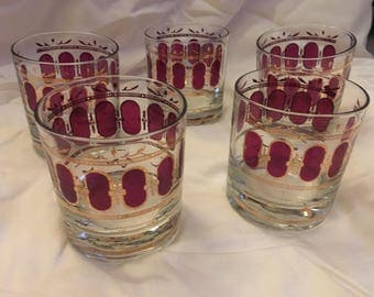 Set of 5 vintage tumblers Purple/Gold