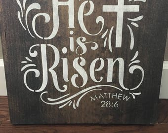 He is Risen, home decor, wood sign