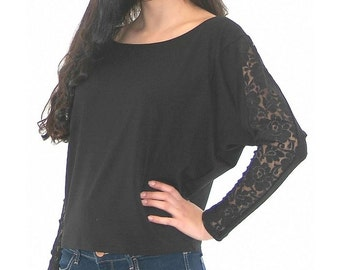 Hot black top, Bat sleeve top, Long Sleeve blouse, Black woman blouse, Maxi black blouse, Plus size clothing, Oversized woman top