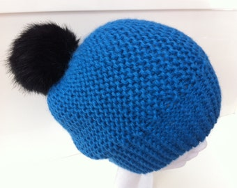Bright blue hat in Alpaca with tassel