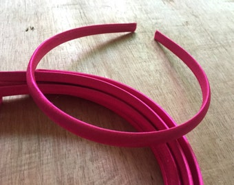 10pieces hot pink satin plastic hair headband covered 10mm wide