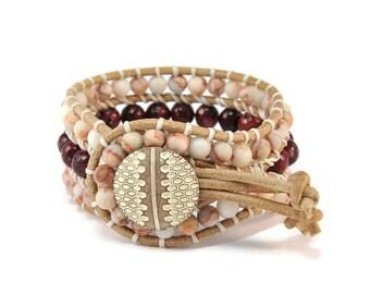 Boho Balzak * Jasper & Jade. 3 strand Wrap Bracelet. Boho Style. Bohemian Jewelry. Semiprecious stones. Gift for her. Cuff Bracelet.