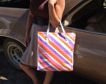 SUMMER SALE!! Vintage 1960's Vinyl Striped Tote Bag - Insulated