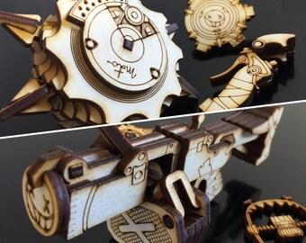 Mini Overwatch Junkrat Frag Launcher or RIPtire Laser Cut DELUXE Kits + BONUS Detonator, Concussion Mine, and Steel Trap