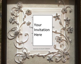 Custom Quilled and Framed Wedding Invitation