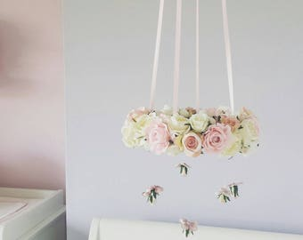 Pink and Ivory Floral Cot Mobile Crib Chandelier with Hanging Buds