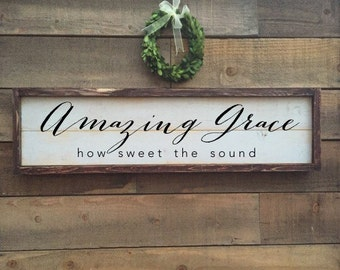 Amazing Grace Wall Decor how sweet the sound | etsy