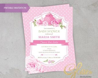 Tea roses dots Baby Shower invitation, digital baby shower invitation, girl baby shower invitation,