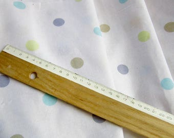 Tissu motif Pois multicolor - Mélange lin, coton