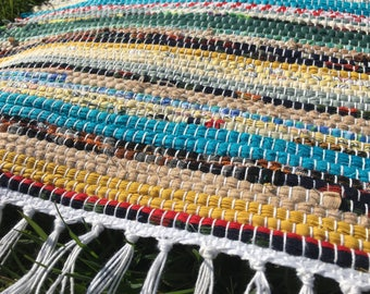 Hit and Miss Traditional Multicolor Long Rag Rug Runner - (a77)
