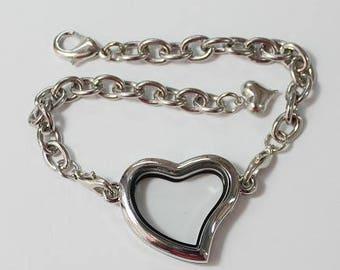 30mm Silver Plated Heart Shape Floating Charm Bracelet