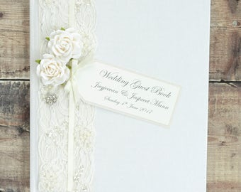 Large Luxury Personalised Wedding Guest Book - Vintage Rose, Lace and Jewel Design Guest Book. Ivory Wedding Guest Book.
