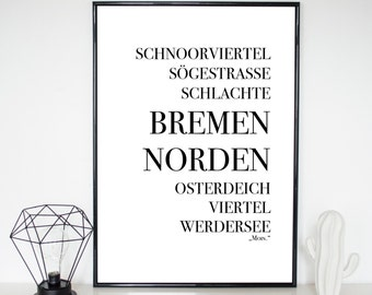 Poster, Bremen, quote, print, sayings, quote