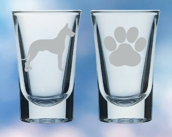 Set of 2 Doberman and paw shot glasses - gift - permanently etched