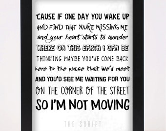 The Script - The Man who can't be moved - Pop and Indie Prints Typography Poster Print