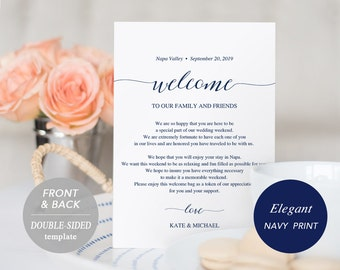 Navy Wedding Itinerary Card, Welcome Note, Printable Wedding Itinerary, Agenda, Schedule, Welcome Bag Letter, Instant Download, PDF Template