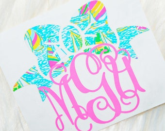 Lilly Pulitzer Inspired Bow Monogram Decal