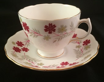Vintage Tea Cup and Saucer - Royal Vale 6424 Bone China, Scalloped Edges, Red, Gray and Gold Flowers