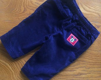 Baby trousers / vinrage baby cordoury trousers. Blue jumbo corduroy with Mickey Mouse / Disney. 1990s. Age 6 months - age 9 months
