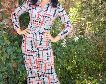 woollen-polyester 70's maxi dress with waist tie, button through.