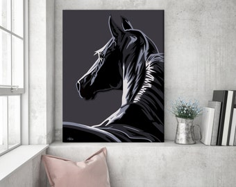Gift for horse lover, horse painting, horse wall art, pop art horse canvas, horse art, horse gift, horse decor, horse pop art, wall art C02