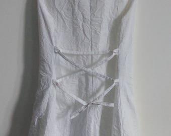Long white satin wedding dress - size 38/M - new