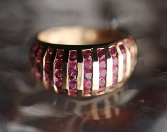 Ruby Rows - 14k Gold with appx. 1ct Beautifully Faceted Rubies