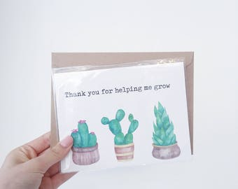 Thank you card for teacher, coach, mentor | thank you for helping me grow card