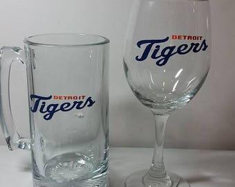 Detroit Tigers wine glass and Beer mug