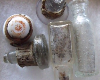 Collection of Antique Mini Glass Bottle with Glass Bottle Tops with Cork Stoppers