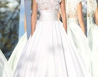 Wedding Dress/ Princess Lace Satin High Neck Bridal Dress/White Wedding Dress