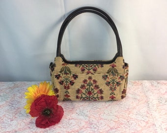 Beautiful vintage hand embroidered and beaded purse, handbag, shoulder bag, trimmed in brown leather! Boho, Bohemian, Gypsy, Collector