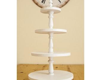 4-tiered white wedding cake stand,4 tiered cupcake stand,4 tiered Wedding cake pedestal,four tiered cupcake stand,4 tiered wood muffin stand