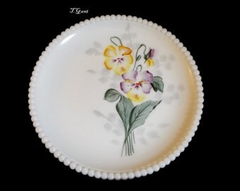 Westmoreland Glass Pansy Flower Beaded Edge Plate Dish Milk Glass Pansies
