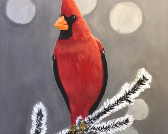 Winter bird, gouache,  gift, decoration