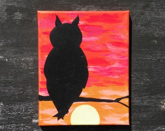 Great Horned Owl Silhouette Shadow Sunset Acrylic Canvas Painting 8x10