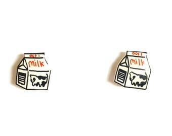Milk Carton Stud Earrings | Shrink Plastic, Cute, Miniature Food.