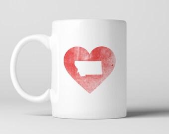 Heart Montana State Coffee Mug , Red heart with Montana Silhouette