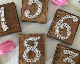 Wood Table Numbers, Rustic Wedding Numbers, String Art Table Numbers, String Art Wedding Decoration, Rustic Chic, Table Numbers, Wood Signs