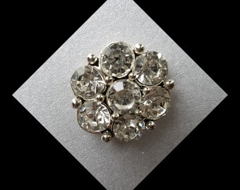 Jewelry snap, Snap Jewel, 20mm Clear Rhinestone flower