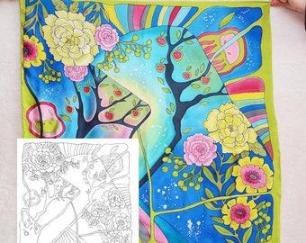 "Template for batik ""Nina"", Draft for Batik technique (shawl 32x32 in.), painting on silk, silk painting basics, cold batik technique"