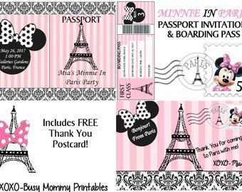 Minnie In Paris Inspired Invitation, Minnie Paris Passport, Minnie Mouse in Paris- Includes a FREE Minnie Paris Thank You Card