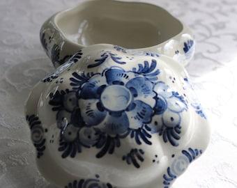 Delftware Covered Bowl, Blue Delftware, DeKlomp Holland Michigan, 2 piece bowl, Trinket dish, Dimpled Lid, Jam Bowl