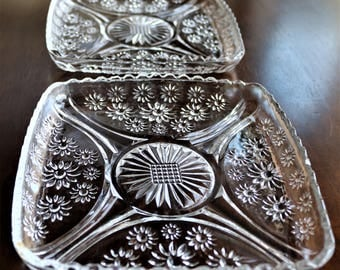 Vintage Glass Snack Plates, Square Snack Plates, Set of 2, Vintage Pressed Glass, Square Dishes, Candy Dish, Small Serving Dish