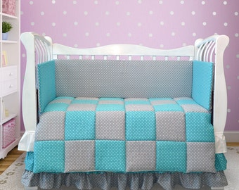 Baby nursery bedding, Baby bedding crib set, Polka dot fabric bedding, Baby shower gift (059)