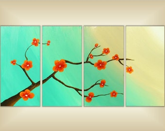 SALE Tree Painting, Tree branch Painting, Turquoise, Canvas Art, Wall Art, Panel Art, Cherry blossom painting, Canvas Painting, Abstract art