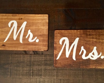 Wood Sign Mr. & Mrs. Wedding Sign Head Table Sign Bride and Groom Signs Wedding Decor