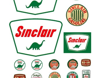 1:87 HO scale model Sinclair Oil gasoline station gas signs